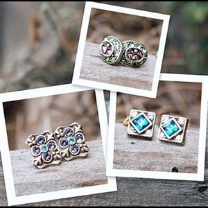 Gift Set of three pairs of Crystal Stud Earrings